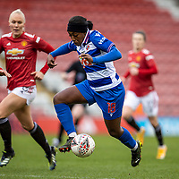 7th February 2021; Leigh Sports Village, Lancashire, England; Women's English Super League, Manchester United Women versus Reading Women; Danielle Carter of Reading controls a lose ball