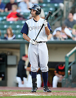 Charlotte Knights Outfielder Jordan Danks at bat during a game vs. the Rochester Red Wings at Frontier Field in Rochester, New York;  June 17, 2010.   Charlotte defeated Rochester by the score of 9-2.  Photo By Mike Janes/Four Seam Images