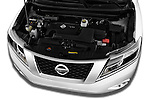 Car Stock 2015 Nissan Pathfinder Sl 2Wd 5 Door Suv 2WD Engine high angle detail view