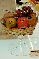 A Japanese fruit hamper sells for 12600 yen , for four pieces of fruit, approximately 63 pounds sterling in the Isetan epartment Store in Central Tokyo, Japan. September 1st, 2008.<br /><br />Photo by Richard Jones / sinopix