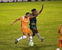 Sky Blue FC forward Kerri Hanks (16) and Saint Louis Athletica defender Kia McNeill (6) during a WPS match at Anheuser Busch Soccer Park, in St. Louis, MO, July 22 2009. Athletica won the match 1-0.