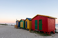 South Africa,Muizenberg,colored cabins on the beach