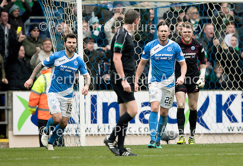 St Johnstone v Celtic…05.02.17     SPFL    McDiarmid Park<br />Richie Foster and Keith Watson have a go at referee Craig Thomson after he awarded Celtic a penalty<br />Picture by Graeme Hart.<br />Copyright Perthshire Picture Agency<br />Tel: 01738 623350  Mobile: 07990 594431