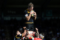 Joe Launchbury of London Wasps wins the lineout ball during the Aviva Premiership match between London Wasps and Gloucester Rugby at Adams Park on Sunday 1st April 2012 (Photo by Rob Munro)