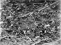 Aerial view of ruins of Vaux, France, 1918.  Attributed to Edward Steichen.  (Army Air Forces)<br /> Exact Date Shot Unknown<br /> NARA FILE #:  018-E-5114<br /> WAR & CONFLICT BOOK #:  704