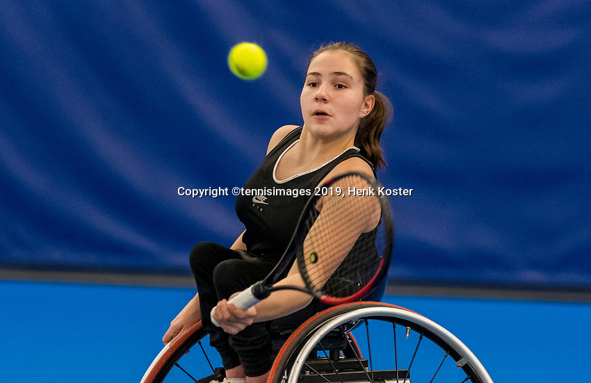 Amstelveen, Netherlands, 8  December, 2020, National Tennis Center, NTC, NKR, National  Indoor Wheelchair Tennis Championships, women's junior single:  Lizzy de Greef  (NED)<br /> Photo: Henk Koster/tennisimages.com