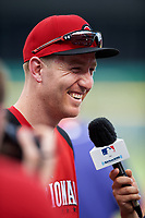 Cincinnati Reds Todd Frazier conducts interviews during practice before the MLB All-Star Game on July 14, 2015 at Great American Ball Park in Cincinnati, Ohio.  (Mike Janes/Four Seam Images)