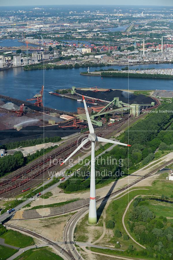 GERMANY Hamburg, aerial view of port, river Elbe and 6 MW Enercon E-126 windmill infront of coal and ore harbour Hansaport / DEUTSCHLAND Hamburg Hafen, Suederelbe, Enercon E-126 mit 6 MW Windkraftanlage in Altenwerder vor Hansaport Kohlehafen
