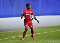 LAKE BUENA VISTA, FL - JULY 26: Richie Laryea of Toronto FC settles the ball off his chest during a game between New York City FC and Toronto FC at ESPN Wide World of Sports on July 26, 2020 in Lake Buena Vista, Florida.