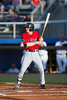 Jordan Gore (38) of the Elizabethton Twins at bat against the Danville Braves at American Legion Post 325 Field on July 1, 2017 in Danville, Virginia.  The Twins defeated the Braves 7-4.  (Brian Westerholt/Four Seam Images)