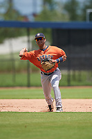 GCL Astros third baseman Sean Mendoza (3) throws to first base during a Gulf Coast League game against the GCL Nationals on August 9, 2019 at FITTEAM Ballpark of the Palm Beaches training complex in Palm Beach, Florida.  GCL Nationals defeated the GCL Astros 8-2.  (Mike Janes/Four Seam Images)