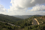 Israel, a view of Jerusalem Mountains and road 395 from Har Hatayasim