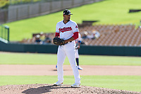 Glendale Desert Dogs relief pitcher Dalbert Siri (39), of the Cleveland Indians organization, gets ready to deliver a pitch during an Arizona Fall League game against the Scottsdale Scorpions at Camelback Ranch on October 16, 2018 in Glendale, Arizona. Scottsdale defeated Glendale 6-1. (Zachary Lucy/Four Seam Images)