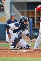 Charlotte Stone Crabs catcher Ronaldo Hernandez (27) during a Florida State League game against the Fort Myers Miracle on April 6, 2019 at Charlotte Sports Park in Port Charlotte, Florida.  Fort Myers defeated Charlotte 7-4.  (Mike Janes/Four Seam Images)