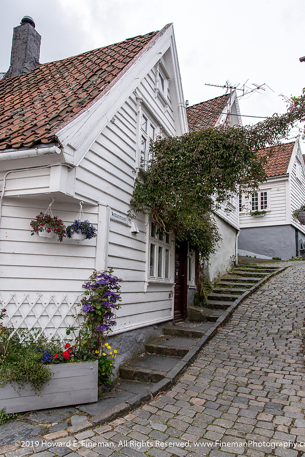 Traditional homes and winding lane in Skavanger