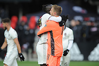 WASHINTON, DC - FEBRUARY 29: Washington, D.C. - February 29, 2020: Clint Irwin #1 of the Colorado Rapids celebrates the victory with teammate Kei Kamara #23. The Colorado Rapids defeated D.C. United 2-1 during their Major League Soccer (MLS)  match at Audi Field during a game between Colorado Rapids and D.C. United at Audi FIeld on February 29, 2020 in Washinton, DC.