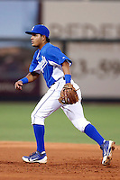Alfredo Patino #18 of the AZL Royals during a game against the AZL Rangers at Surprise Stadium on July 15, 2013 in Surprise, Arizona. AZL Rangers defeated the AZL Royals, 3-2. (Larry Goren/Four Seam Images)