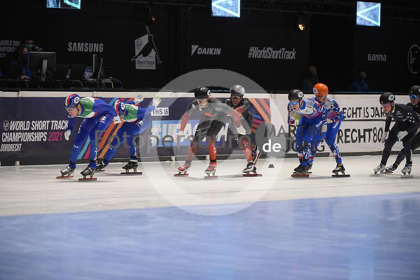 SPEEDSKATING: DORDRECHT: 06-03-2021, ISU World Short Track Speedskating Championships, SF 5000m Men, Tomasso Dotti (ITA), Luca Spechenhauser (ITA), (CAN), (RSU), ©photo Martin de Jong