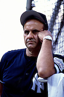 New York Yankees Manager Joe Torre plays in a baseball game at Edison International Field during the 1998 season in Anaheim, California. (Larry Goren/Four Seam Images)