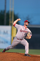 John Fasola #44 of the Spokane Indians pitches against the Salem-Keizer Volcanoes at Volcanoes Stadium on July 26, 2014 in Keizer, Oregon. Spokane defeated Salem Keizer, 4-1. (Larry Goren/Four Seam Images)