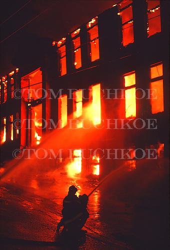 Fire in an apartment house in Negaunee Michigan, in the Upper Peninsula of Michigan.