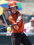 Douglas Tigers' Kelly Sonnemann hits against the Galena Grizzlies in a first round game of the NIAA northern region softball tournament in Reno, Nev., on Thursday, May 15, 2014. <br /> Photo by Cathleen Allison