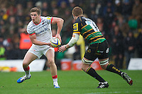20121027 Copyright onEdition 2012©.Free for editorial use image, please credit: onEdition..Owen Farrell of Saracens in action during the Aviva Premiership match between Northampton Saints and Saracens at Franklin's Gardens on Saturday 27th October 2012 (Photo by Rob Munro)..For press contacts contact: Sam Feasey at brandRapport on M: +44 (0)7717 757114 E: SFeasey@brand-rapport.com..If you require a higher resolution image or you have any other onEdition photographic enquiries, please contact onEdition on 0845 900 2 900 or email info@onEdition.com.This image is copyright the onEdition 2012©..This image has been supplied by onEdition and must be credited onEdition. The author is asserting his full Moral rights in relation to the publication of this image. Rights for onward transmission of any image or file is not granted or implied. Changing or deleting Copyright information is illegal as specified in the Copyright, Design and Patents Act 1988. If you are in any way unsure of your right to publish this image please contact onEdition on 0845 900 2 900 or email info@onEdition.com