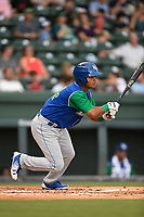 Second baseman Carlos Diaz (14) of the Lexington Legends follows through on a swing during a game against the Greenville Drive on Sunday, September 2, 2018, at Fluor Field at the West End in Greenville, South Carolina. Greenville won, 7-4. (Tom Priddy/Four Seam Images)