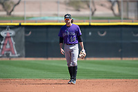 Colorado Rockies shortstop Ryan Vilade (14) during a Minor League Spring Training game against the Los Angeles Angels at Tempe Diablo Stadium Complex on March 18, 2018 in Tempe, Arizona. (Zachary Lucy/Four Seam Images)