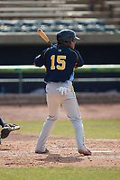 Yohendrick Pinango (15) of the Myrtle Beach Pelicans at bat against the Lynchburg Hillcats at Bank of the James Stadium on May 23, 2021 in Lynchburg, Virginia. (Brian Westerholt/Four Seam Images)