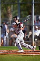 Northeastern Huskies third baseman Ryan Solomon (31) bats during a game against the South Dakota State Jackrabbits on February 23, 2019 at North Charlotte Regional Park in Port Charlotte, Florida.  Northeastern defeated South Dakota State 12-9.  (Mike Janes/Four Seam Images)