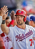 7 March 2019: Washington Nationals catcher Taylor Gushue returns to the dugout after scoring in the 8th inning of a Spring Training Game against the New York Mets at the Ballpark of the Palm Beaches in West Palm Beach, Florida. The Nationals defeated the visiting Mets 6-4 in Grapefruit League, pre-season play. Mandatory Credit: Ed Wolfstein Photo *** RAW (NEF) Image File Available ***