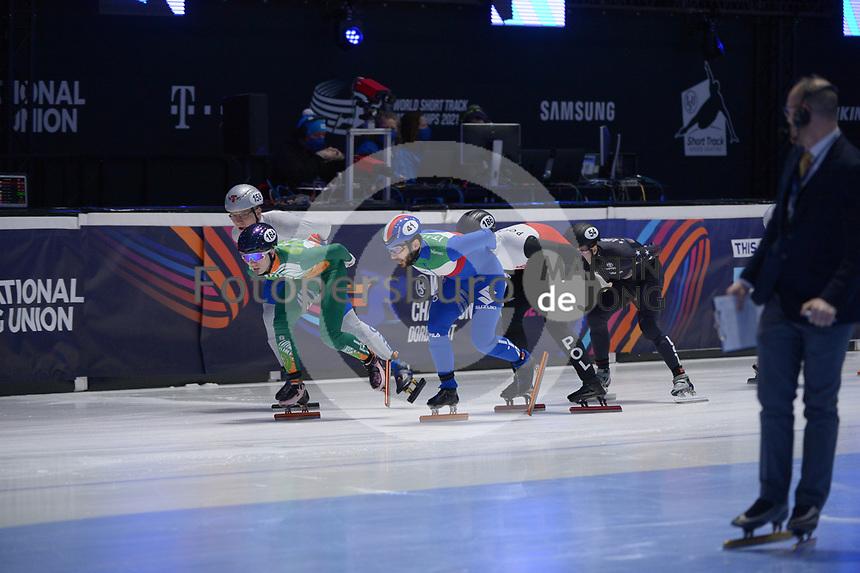 SPEEDSKATING: DORDRECHT: 06-03-2021, ISU World Short Track Speedskating Championships, RF 1500m Men, Liam O'Brien (IRL), Yuri Confortola (ITA), ©photo Martin de Jong
