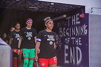 ORLANDO, FL - FEBRUARY 24: Desiree Scott #11 of the CANWNT walks out of the tunnel before a game between Brazil and Canada at Exploria Stadium on February 24, 2021 in Orlando, Florida.