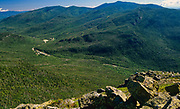 Pinkham Notch from Glen Boulder Trail in the White Mountains, New Hampshire USA. Route 16 can be seen in the valley