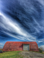 Red barn and sky at the Braun Farm in Westerville OH