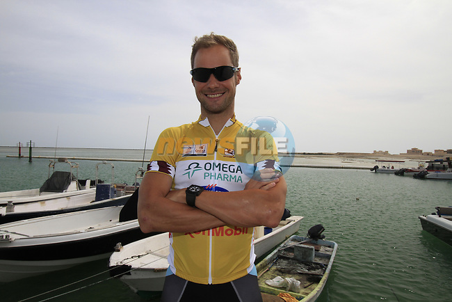 Omega Pharma-Quick Step rider race leader Tom Boonen (BEL) before the start of Stage 4 of the 2012 Tour of Qatar from Al Thakhira to Madinat Al Shamal, Qatar. 8th February 2012.<br /> (Photo Eoin Clarke/Newsfile)