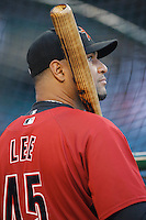 Carlos Lee of the Houston Astros during batting practice before a game from the 2007 season at Angel Stadium in Anaheim, California. (Larry Goren/Four Seam Images)