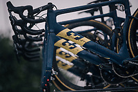 Team Aqua Blue Sport's unique (dirty) 3T bikes loaded up after the race<br /> <br /> 73rd Dwars Door Vlaanderen 2018 (1.UWT)<br /> Roeselare - Waregem (BEL): 180km