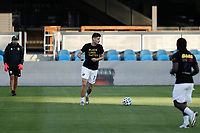 SAN JOSE, CA - SEPTEMBER 16: Jeff Attinella #1 of the Portland Timbers during warmups before a game between Portland Timbers and San Jose Earthquakes at Earthquakes Stadium on September 16, 2020 in San Jose, California.