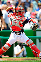 4 July 2009: Washington Nationals catcher Wil Nieves in action against the Atlanta Braves at Nationals Park in Washington, DC. The Nationals rallied with 4 runs in the 8th inning to defeat the Braves 5-3 and take the second game of the 3-game weekend series. Mandatory Credit: Ed Wolfstein Photo