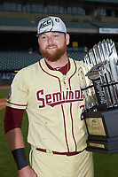 Quincy Nieporte (29) holds the championship trophy following the win over the North Carolina Tar Heels in the 2017 ACC Baseball Championship Game at Louisville Slugger Field on May 28, 2017 in Louisville, Kentucky. The Seminoles defeated the Tar Heels 7-3. (Brian Westerholt/Four Seam Images)