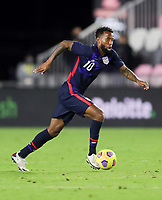 FORT LAUDERDALE, FL - DECEMBER 09: Kellyn Acosta #10 of the United States dribbles the ball during a game between El Salvador and USMNT at Inter Miami CF Stadium on December 09, 2020 in Fort Lauderdale, Florida.