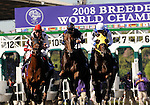 25 October 2008: The field approaches he finish line for the first time in the  TVG Breeders Cup Mile at Santa Anita Race Track in Arcadia, California.