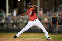 Harrisburg Senators relief pitcher Roman Mendez (32) delivers a pitch during a game against the Akron RubberDucks on August 18, 2018 at FNB Field in Harrisburg, Pennsylvania.  Akron defeated Harrisburg 5-1.  (Mike Janes/Four Seam Images)