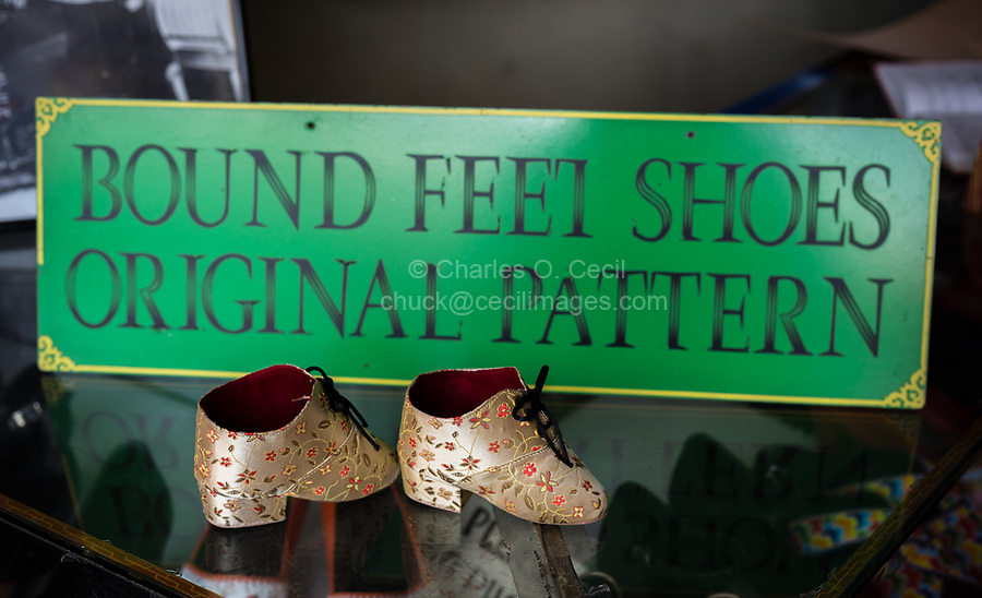 Miniature Shoes for Bound Feet, Old Chinese Traditional Practice, Melaka, Malaysia.