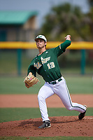 USF Bulls relief pitcher Noah Yager (13) delivers a pitch during a game against the Dartmouth Big Green on March 17, 2019 at USF Baseball Stadium in Tampa, Florida.  USF defeated Dartmouth 4-1.  (Mike Janes/Four Seam Images)