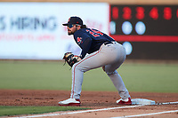 Salem Red Sox first baseman Nick Northcut (24) on defense against the Kannapolis Cannon Ballers at Atrium Health Ballpark on July 30, 2021 in Kannapolis, North Carolina. (Brian Westerholt/Four Seam Images)