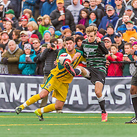 15 November 2015: Binghamton University Bearcat Forward Ben Ovetsky, a Sophomore from Irvington, NY, battles for possession against University of Vermont Catamount Defender Arthur Bacquet, a Sophomore from Bruxelles, Belgium, at Virtue Field in Burlington, Vermont. The Bearcats fell to the Catamounts 1-0 in the America East Championship Game. Mandatory Credit: Ed Wolfstein Photo *** RAW (NEF) Image File Available ***