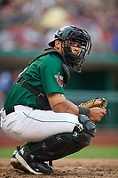 Fort Wayne TinCaps catcher Luis Campusano (4) looks into the dugout for a sign during a game against the West Michigan Whitecaps on May 17, 2018 at Parkview Field in Fort Wayne, Indiana.  Fort Wayne defeated West Michigan 7-3.  (Mike Janes/Four Seam Images)
